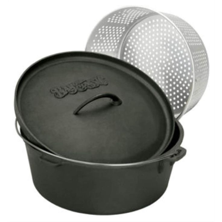 Bayou Classic 7416 16 Quart Cast Iron Dutch Oven and Basket - Pewter (Silver) (Aluminum)