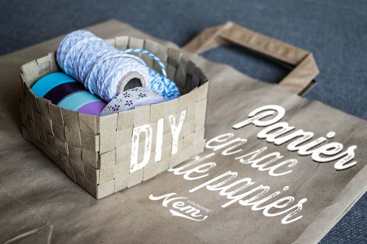 Tuto récup' simple pour fabriquer un panier tressé DIY avec comme matériaux un sac en papier kraft.