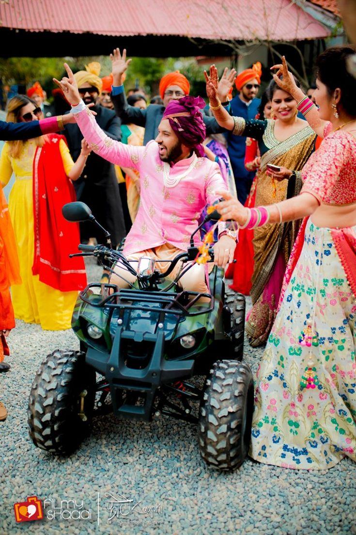 asian wedding photography east midlands%0A fun groom u    s baraat entrance  on an ATV four wheeler   Vintage Boho Hindu  Wedding