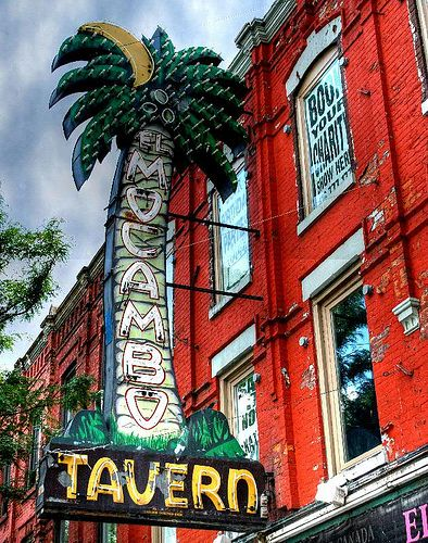"""The El Mocambo Tavern (aka """"The El Mo"""" and sometimes """"The El Cabomgo"""") is a live music and entertainment venue in Toronto, Ontario, Canada. Located on Spadina Avenue, just south of College Street, the bar played an important part in the promotion of popular music, both locally produced and international."""