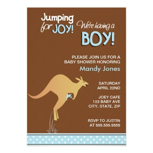 Brown Kangaroo Jumping for Joy Boy baby shower Invitations