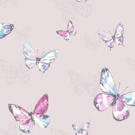 Holden Amelia Butterflies Wallpaper - Heather / Pink 98870  This stunning Amelia Butterflies Wallpaper features a collection of beautiful butterflies in tones of purple, pink and blue, with silver gel glitter highlights. This is set on a pale heather background patterned with shimmering mica butterfly silhouettes. Easy to apply, this high quality wallpaper will look great when used to decorate a whole room or to create a feature wall. Beautiful butterfly themed wallpaper Features glitter...