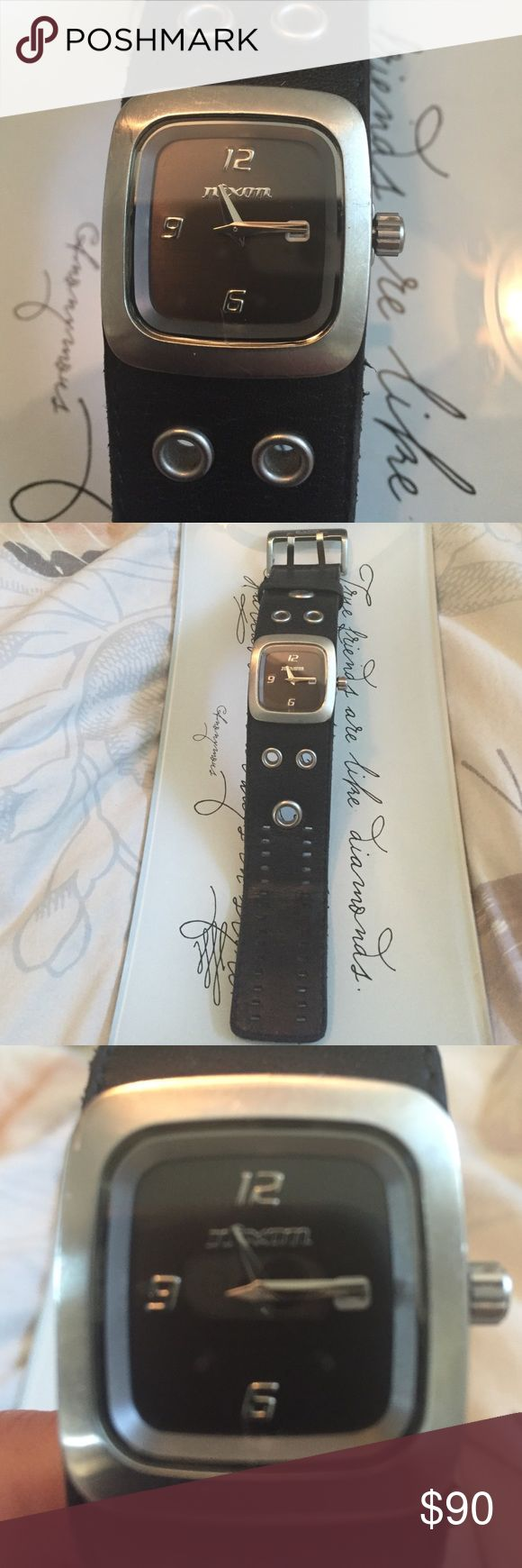 Nixon woman's black leather watch In great condition, one little scratch on glass. Nixon Accessories Watches
