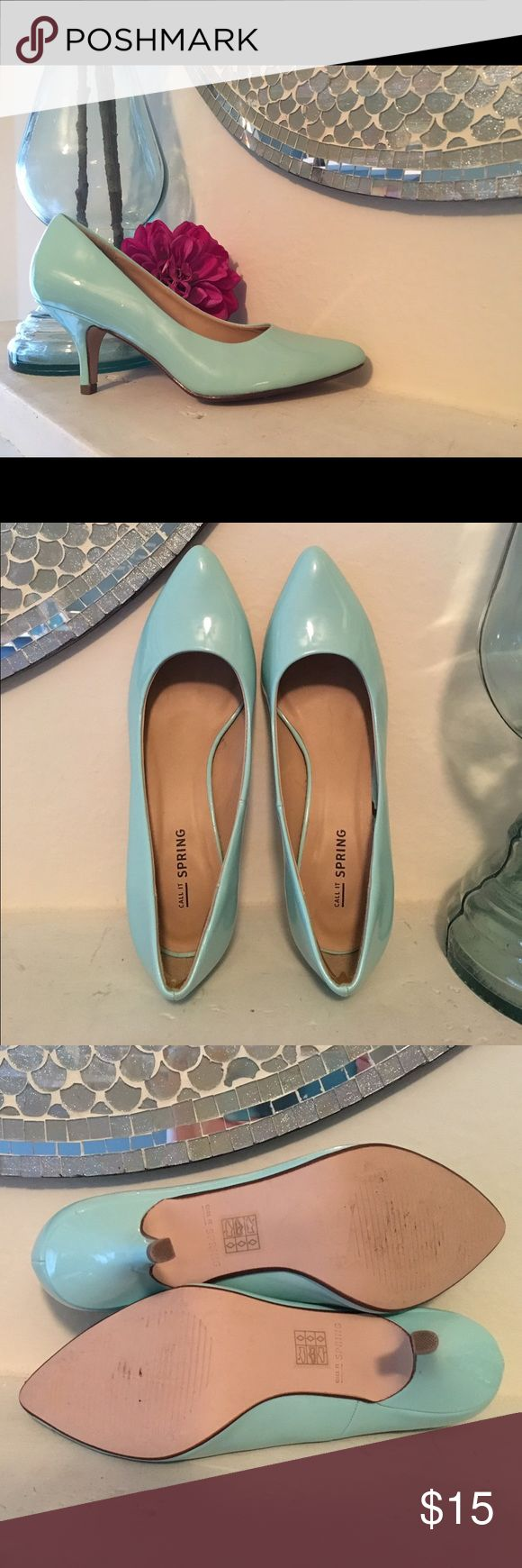Call it Spring Aqua Heels Excellent condition (worn once). Aqua heel with slightly pointed toe. No scuffs or marks. Call It Spring Shoes Heels