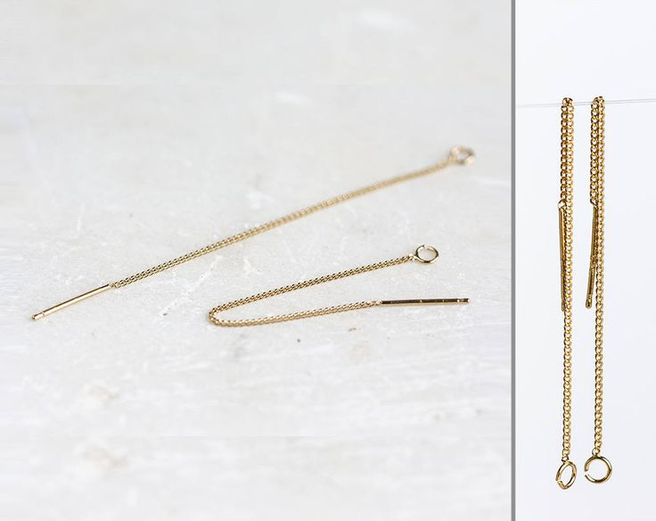 2540_Sterling silver earrings 6cm, Chain earrings, Gold plated ear wires, Silver 925 earrings, Earring chain gold, Delicate earrings_1 pair. by PurrrMurrr on Etsy