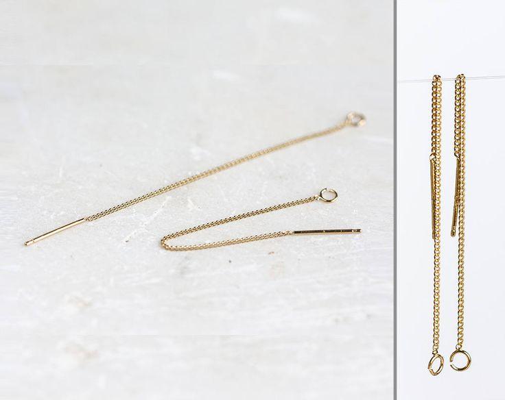 2540_Sterling silver earrings 6cm, Chain earrings, Gold plated ear wires, Silver 925 earrings, Earring chain gold, Delicate earrings_1 pair. by PurrrMurrr on Etsy