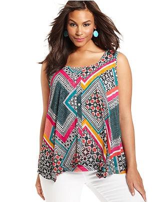 Style Plus Size Top, Sleeveless Printed - Plus Size Tops - Plus Sizes - Macy's
