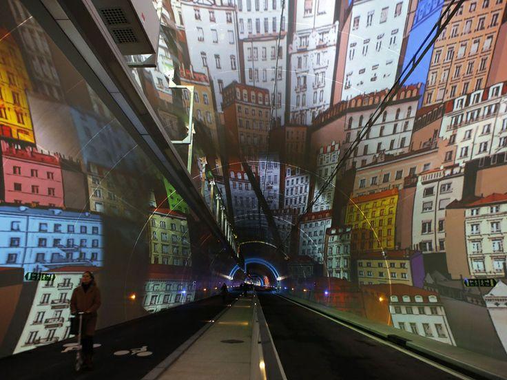 un tunnel coloré à Lyon, Croix Rousse