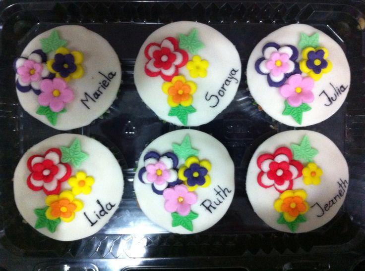 Cupcakes flores de fondant