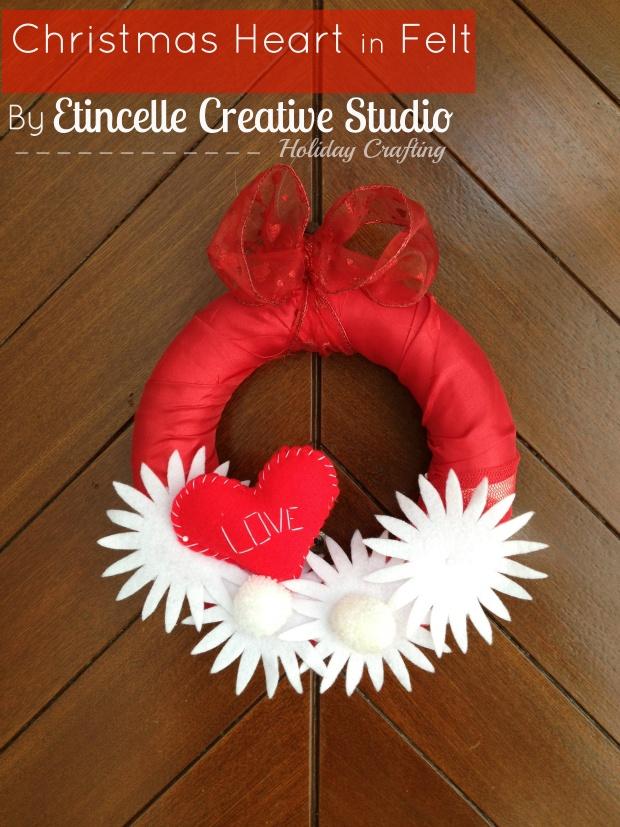 Christmas DIY heart in felt via F for Fabulous