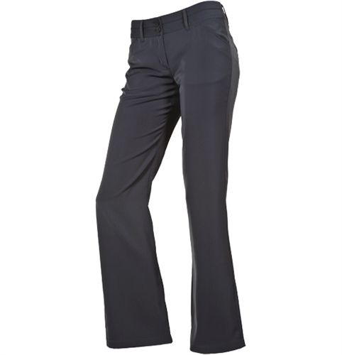 AUR modern fit ladies performance golf trousers with soft polyester/rayon/spandex fabric in black only (sale $54.95) | #gofl4her #wintersale