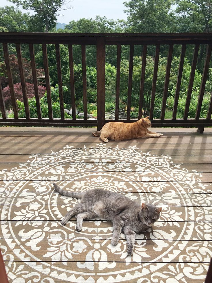 Pete and Vaska, these two adorable cats, are enjoying a lazy Summer day lounging on this Prosperity Mandala stenciled deck.  Hit the (Y) if you wish you were with them and tell us which stencil pattern you would paint on your deck?See our Mandala Collection: http://www.cuttingedgestencils.com/mandala-stencils.html