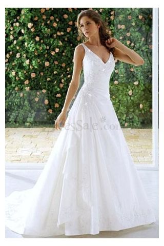 Causal Bridal Wedding Dresses For Older Woman with Dumping V Neckline, Quality Unique Wedding Dresses - Dressale.com- For more amazing finds and inspiration visit us at http://www.brides-book.com/#!brides-book-outlet-bridal/c9wq