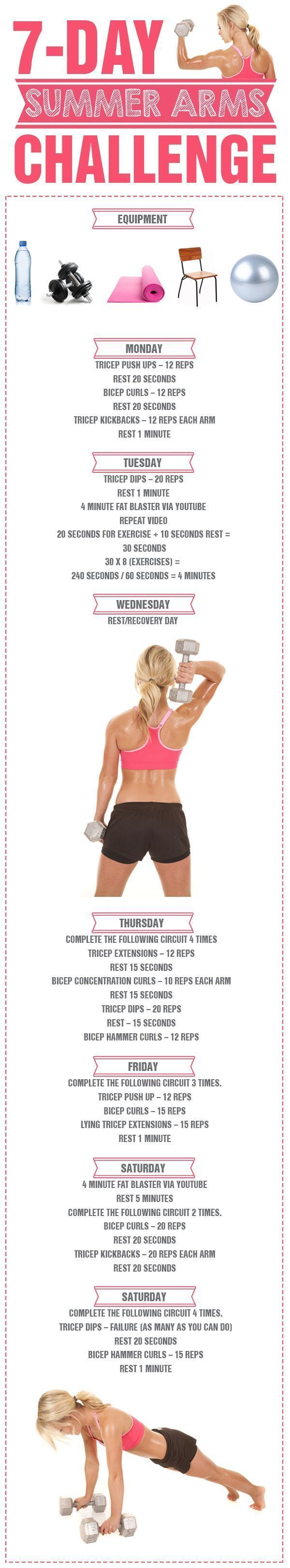 7 Day Summer Arms Challenge - there is no better time to get those beautifully toned and defined arms!