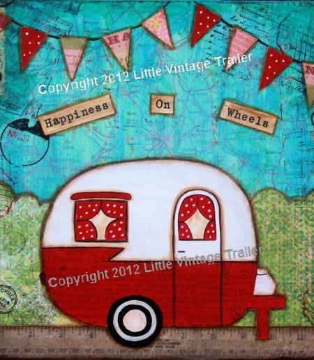 Mixed media vintage camper trailer canned by LittleVintageTrailer, $20.00