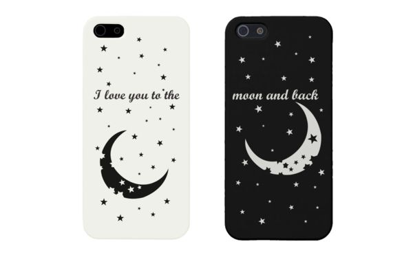 I Love You To The Moon and Back Couple Phone Cases for iPhone 4, iPhone 4S, iPhone 5S, iPhone 5C, iPhone 6, iPhone 6 Plus, Galaxy S3, Galaxy S4, Galaxy S5, HTC M8, and LG G3