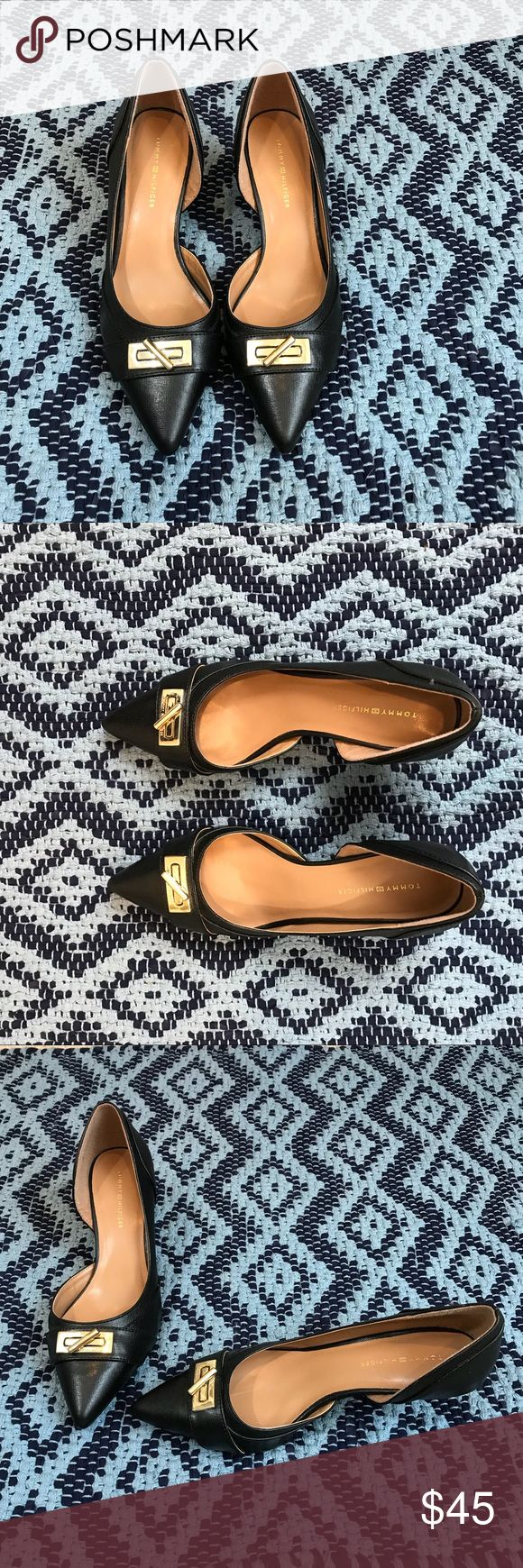 Tommy Hilfiger Black d'orsey  kitten heel heels Tommy Hilfiger Black d'orsey  kitten heels. Gold hardware detail on front top of shoe. Sophisticated and easy to wear! Tommy Hilfiger Shoes Heels