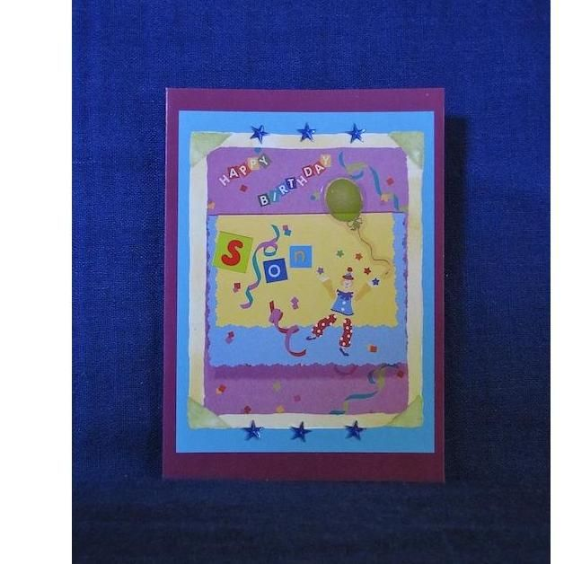 $4.00 Happy Birthday Son Colourful Clown and Fun Purple Card by PaperWorks on Handmade Australia