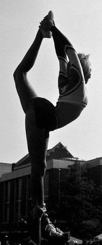 #Cheer, scorpion, stunt, black and white photography, cheerleading from Kythoni's Cheerleading: Stunts board http://pinterest.com/kythoni/cheerleading-stunts-bow-arrow-heel-stretch-scorpio/