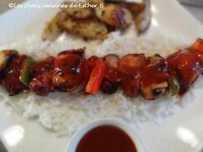 Les plats cuisinés de Esther B: Brochettes de poulet, sauce côtes levées (B.B.Q.)