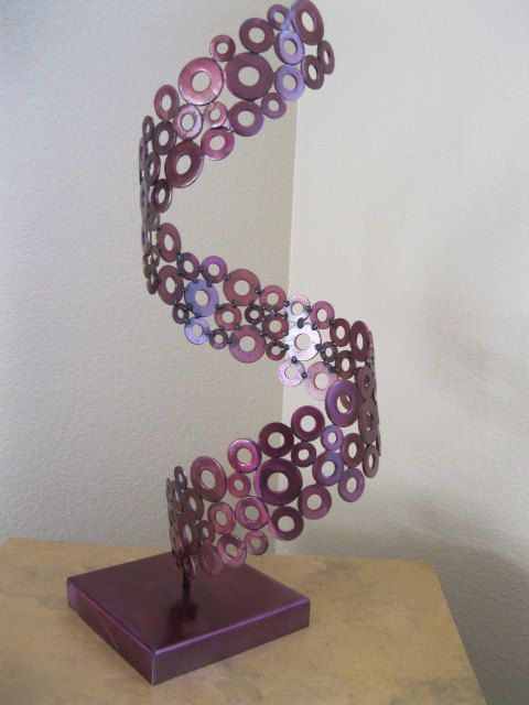 Abstract Metal free standing art sculpture by Holly Lentz
