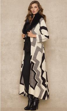 Ralph Lauren hand-knit sweater coat, with shearling collar (wool/silk/cashmere)