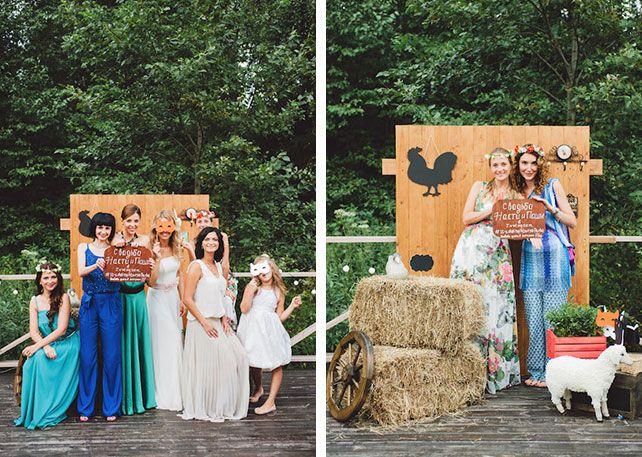 Фотозона на свадьбу в стиле Рустик
