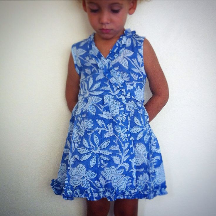 Beautiful Indian Block Print Wrap Dress / 100% Cotton Vegetable Dyed / Perfect Baby Shower Gift - Dark Blue w/ Light Blue Floral