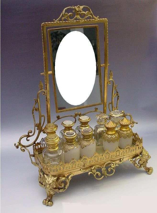 """Antique French Bronze Perfume Vanity """" Mirror and Figural Feet"""""""