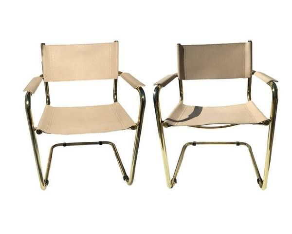 Authentic Vintage Mart Stam Cantilevered Chair - SET | S34 Tubular Armchair Gold / Brass Chrome & Tan   This listing is for two (2) matching authentic vintage Mart Stam (the creator of tubular chairs) matching cantilevered armchairs. Please note any dark shading or reflections on the chairs on not on the finish or metal – they were photographed outside in direct sunlight so that any vintage markings were captured. Both are the S34 mode...SHOP HEATHERTIQUE.COM or BLOG