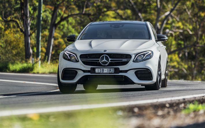 Indir duvar kağıdı 4k, Mercedes-AMG E S, 2017 araba, yol, üretilmiş, beyaz, Alman otomobil, Mercedes
