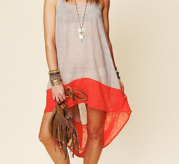 .: Beaches Dresses, Blocks Dresses, Low Colors, Beaches Covers, Free People, Colors Blocks, High Low, Hi Low Dresses, Covers Up