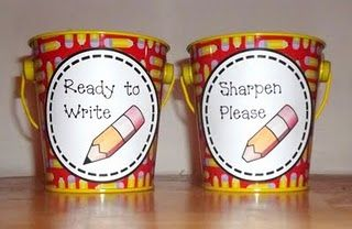 Love these labels to print: Idea, Printable Labels, Buckets, Pencil Labels, Classroom Organizations, Classroom Management, Pencil Cups, Sharpener Pencil, Pencil Holders