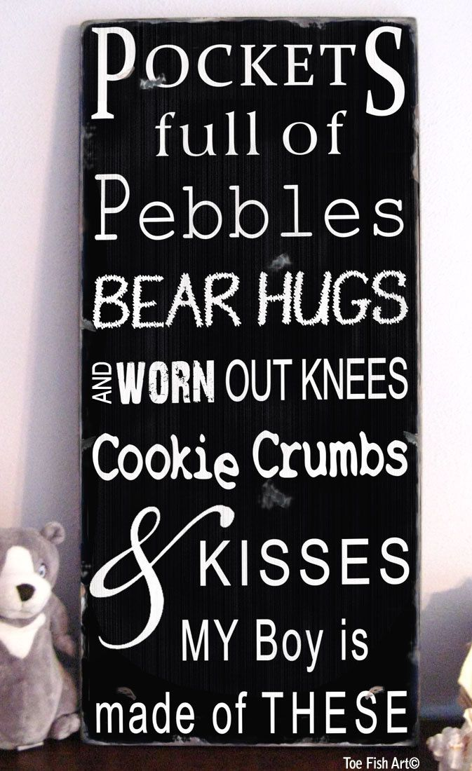Pockets full of Pebbles-My boy is Made of These  -The Perfect Sign for a Boy's Nursery or Playroom.