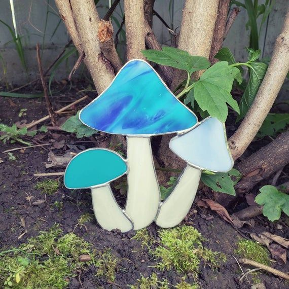 Teal and White Mushroom Suncatcher