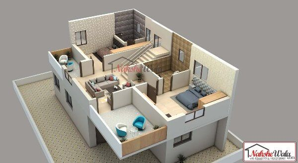 Img5bb7170e63d342bhk House 3d Floor Plan L Jpg 3d House Plans House Map Home Layout Design