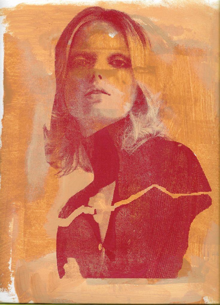 Prueba Serigrafía 07 . Acrílico y serigrafía sobre papel, 23x30 cm. Acrylics and screenprinting on paper, 9x12 Inc.