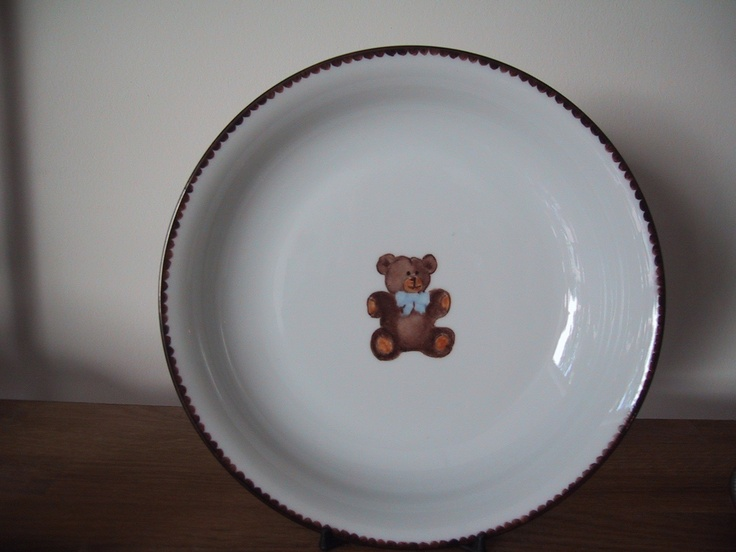 teddy bear collection, designer Patricia Deroubaix, hand painted in Limoges porcelain. cereal bowl/ all shapes on special orders