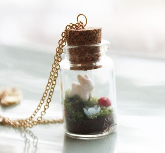 Terrarium Necklace  A Bunny's World Jar Terrarium by iluxo on Etsy, $27.99