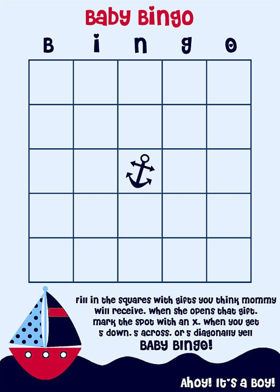 Nicole, here's your game!! Baby Bingo Nautical Theme Baby Shower Game by TheInviteLadyShop