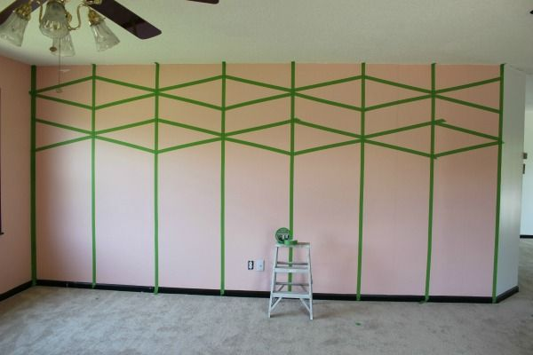 Diy Black And White Diamond Feature Wall Painted Feature Wall Feature Wall Painters Tape Design Wall
