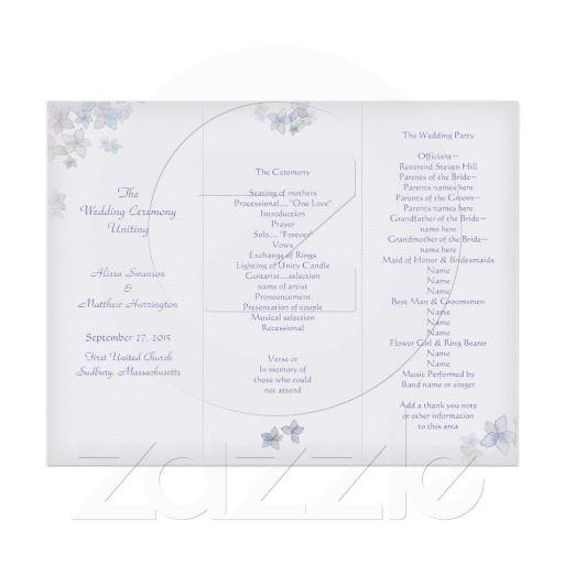 Lavender Art Tri Fold Wedding Program Template Brennan