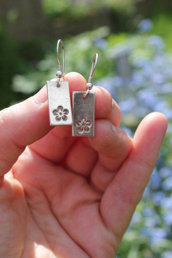 Silver clay earrings, silver flower earrings, embossed flower, pmc, art clay silver, nature earrings, nature jewellery.