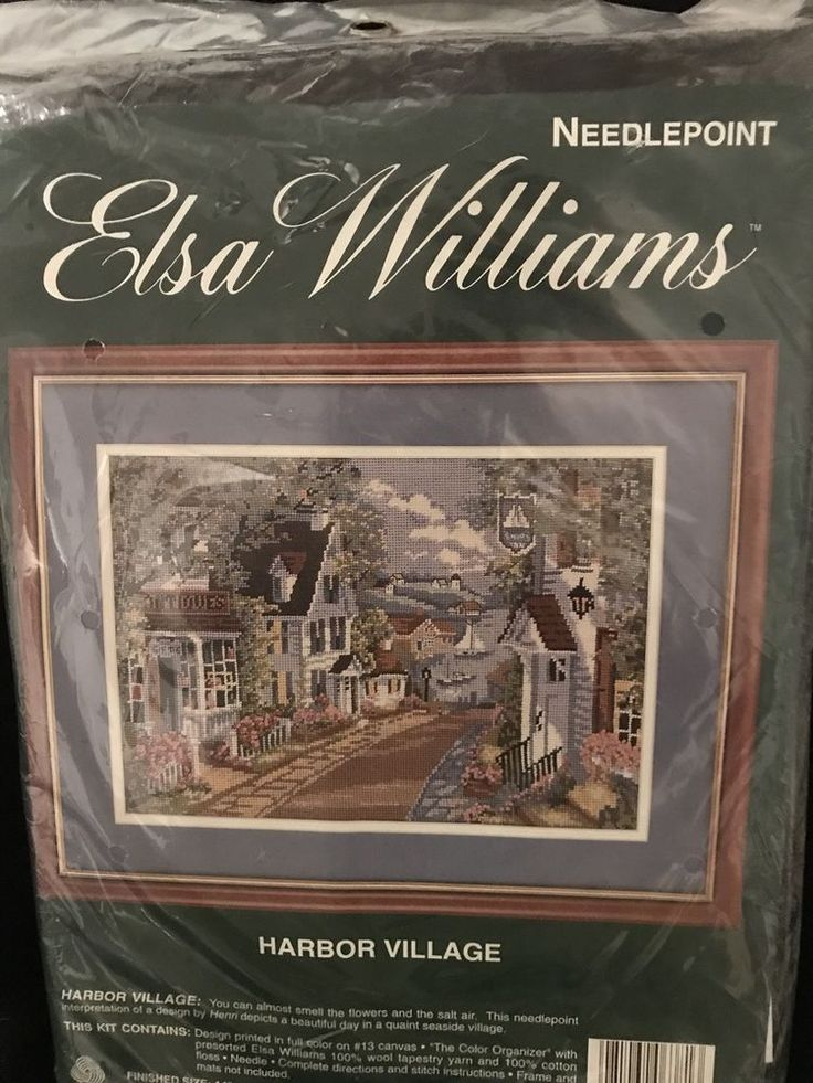 Elsa Williams HARBOR VILLAGE Needlepoint Kit SAILBOAT ANTIQUES HOMES VILLAGE #ElsaWilliams