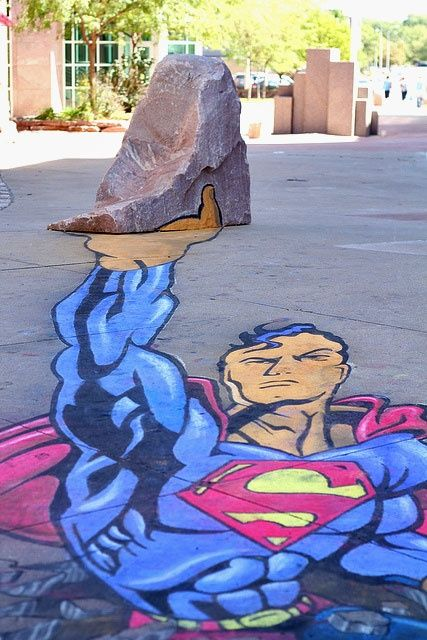 Street art road graffiti #Superman anamorphic street art