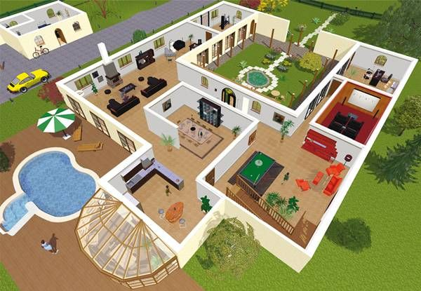 Plan maison moderne 3d for Plan interieur maison en d
