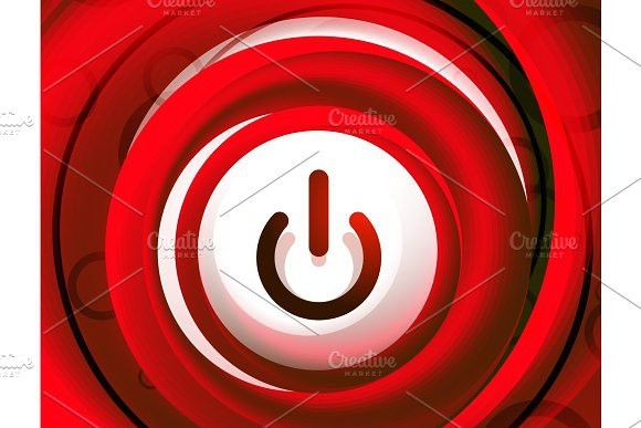 Glass transparent effect power start button, on off icon