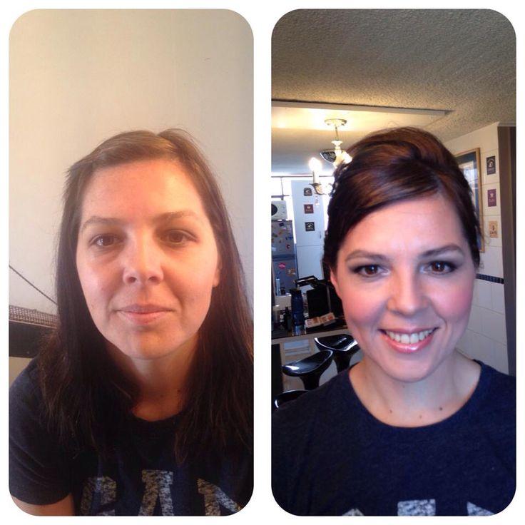 Ante su después de maquillaje y peinado