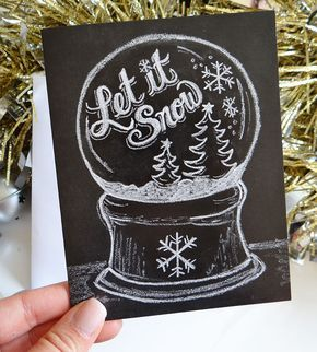 Let It Snow Globe Holiday Chalkboard Cards – Set of 8 by Lily & Val on Scoutmob