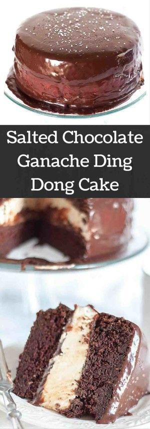 This Salted Chocolate Ganache Ding Dong Cake recipe will make you weep with tears of bliss. It is a moist chocolate cake, fluffy Ho Ho filling, and ganache drizzled all over. www.mamagourmand.com